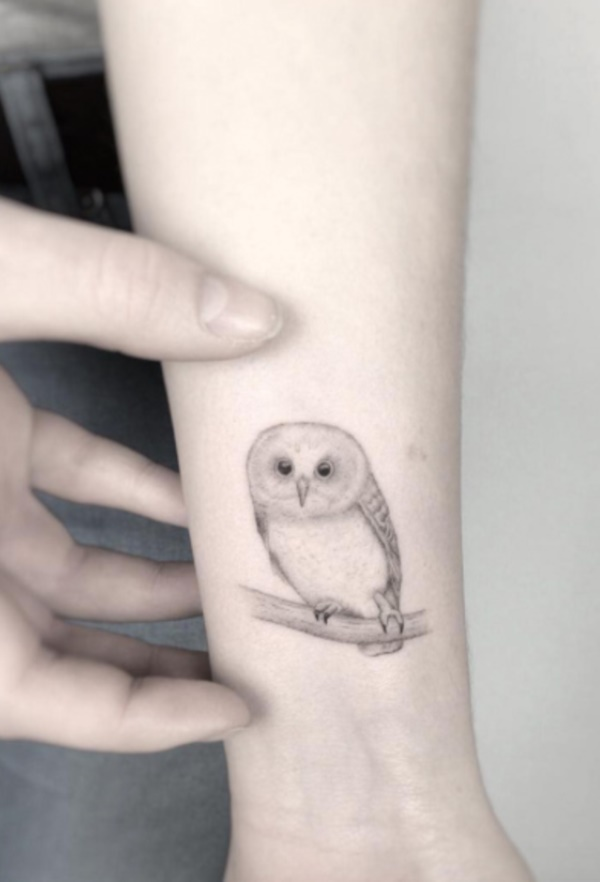 Simple Minimalist Owl Tattoo: 68 Small Bird Tattoo Designs To Mirror Your Passion For Flying
