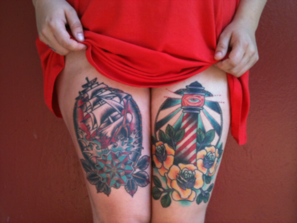 80 sexy thigh tattoo designs as your romantic secret reachel for Tattoo tip percentage