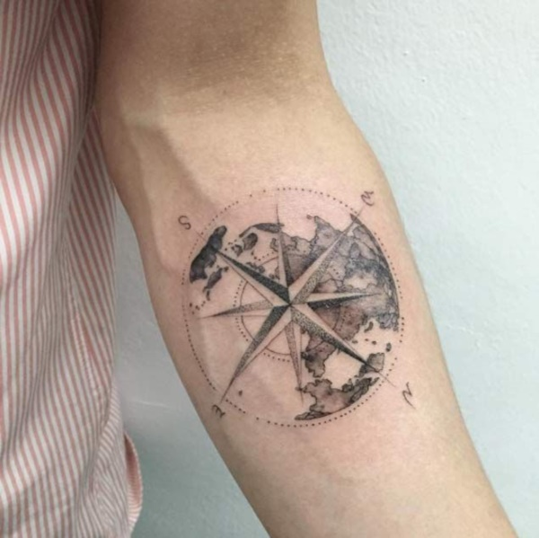 175 Simple Compass Tattoos to stay in right Path - Reachel