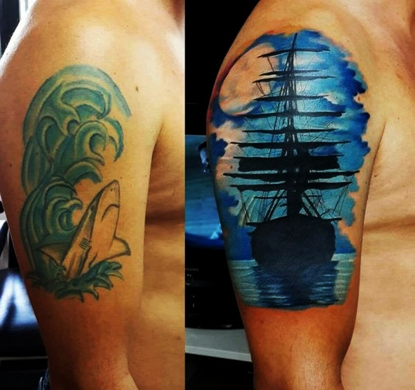 70 cover up tattoo ideas before and after reachel for Tattoo tip percentage