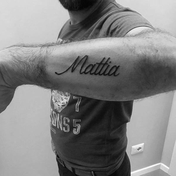 d53f65476 Mattia's name on the forearm. As mentioned before, men tend to get the  bigger version of any type of tattoo.