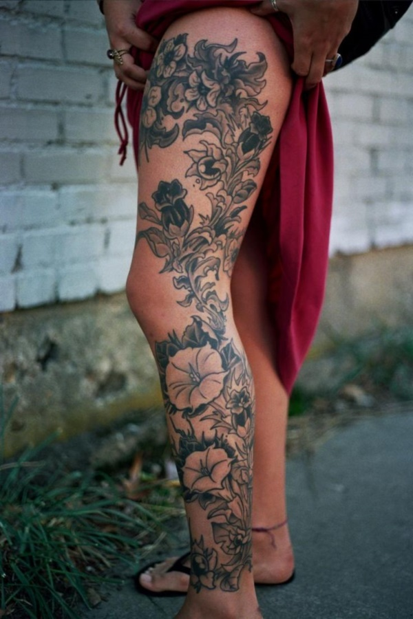 ab74b2063 This floral pattern is similar to retro florals found in books and  paintings. Have something classy as your leg sleeve tattoo. Designs like  these florals ...