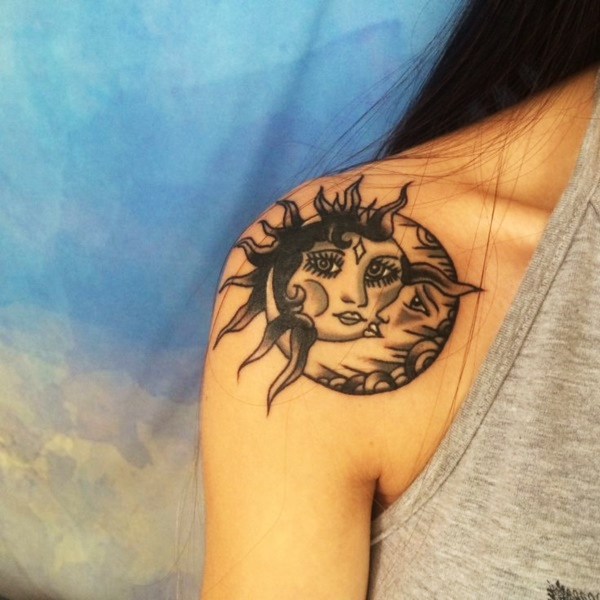 2105552b4d37c This tat is not really accurate, as the moon is actually a she. However,  you can't question the cuteness of this design.