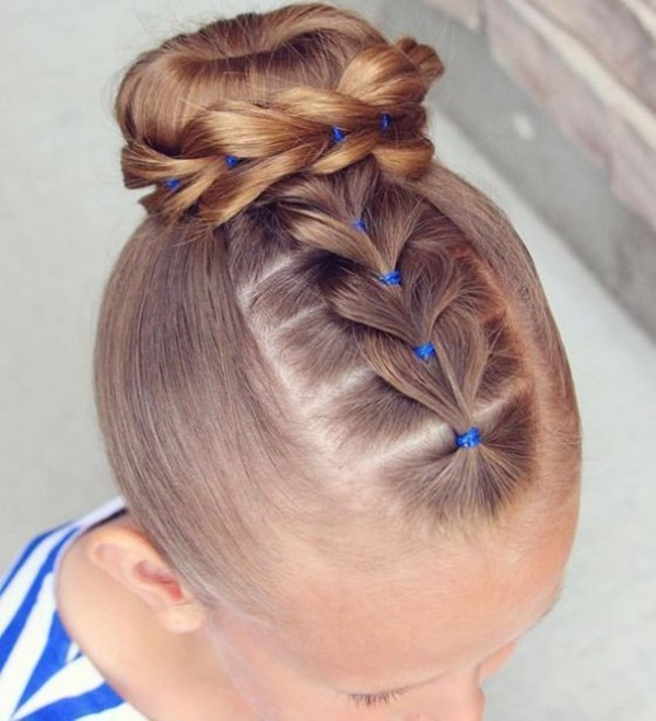 French Braid Kid Hair Braided Pigtail Buns Photos